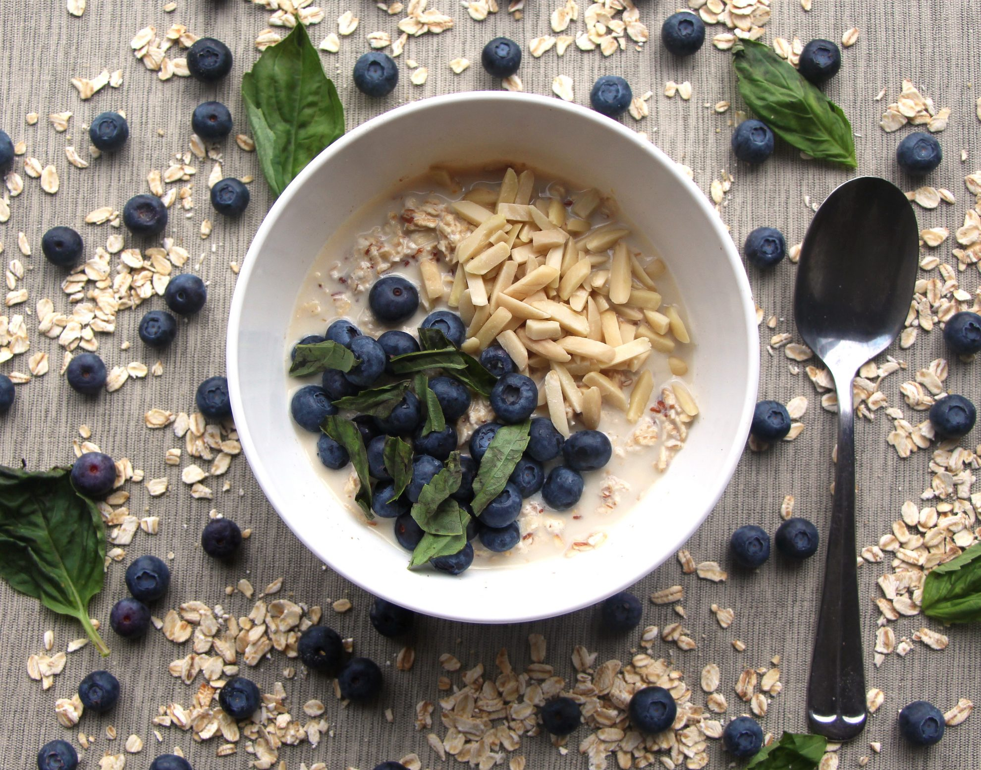 Best food photography tips for photographing this beautiful bowl of blueberry oatmeal