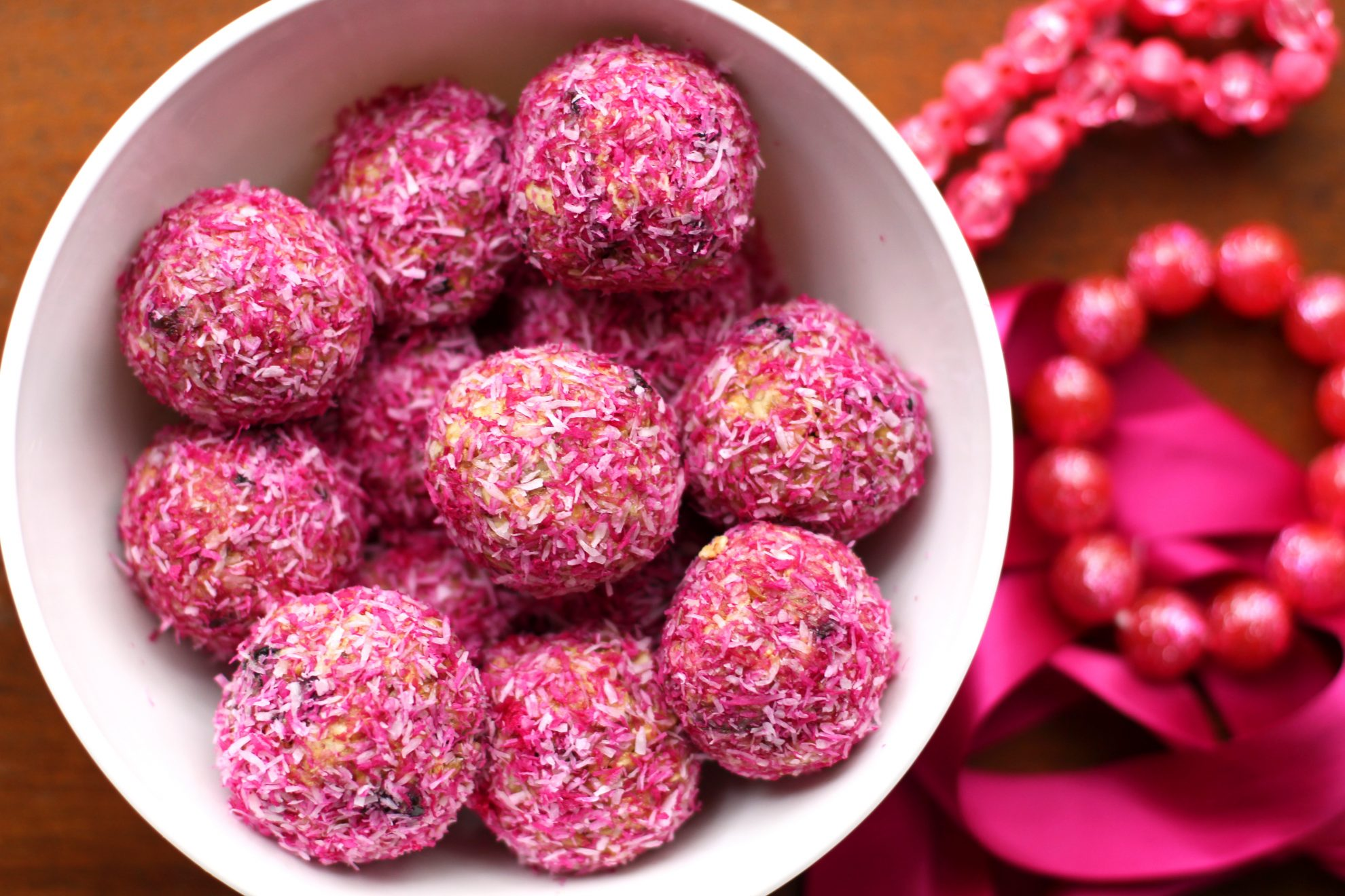 Beautiful pink protein balls photo shows how to photograph food for blog