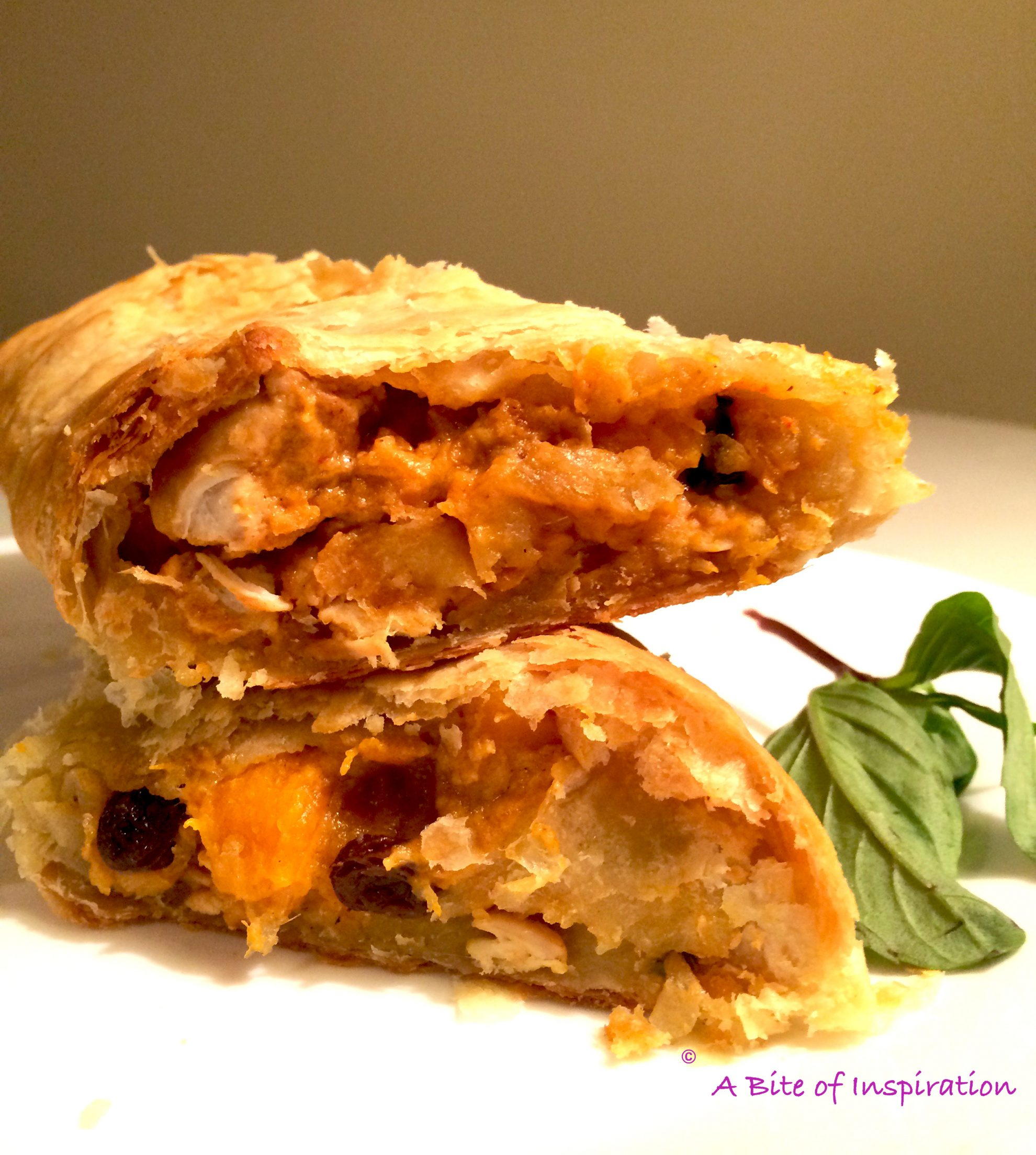 Thai Chicken Curry Strudel photo in bad lighting shows the best photography tips and tricks to improve food photography