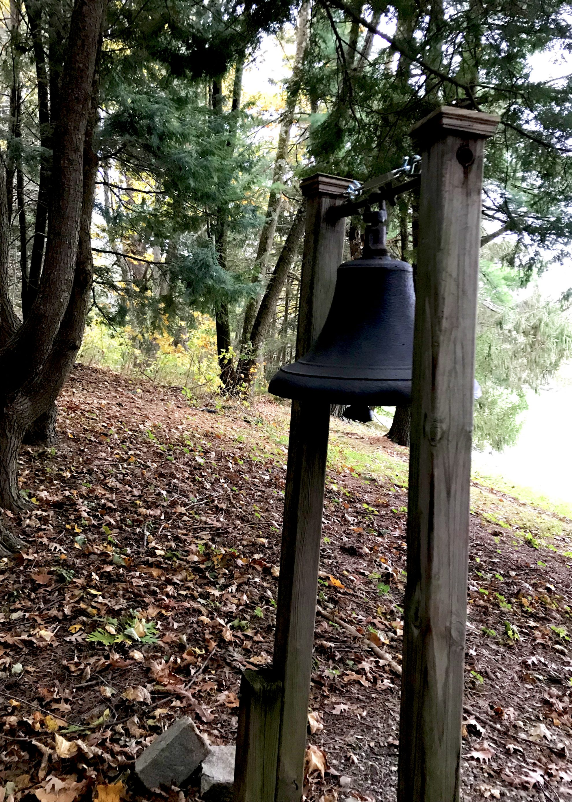 Large bell in the Meditation Garden at Kripalu Center for Yoga and Health