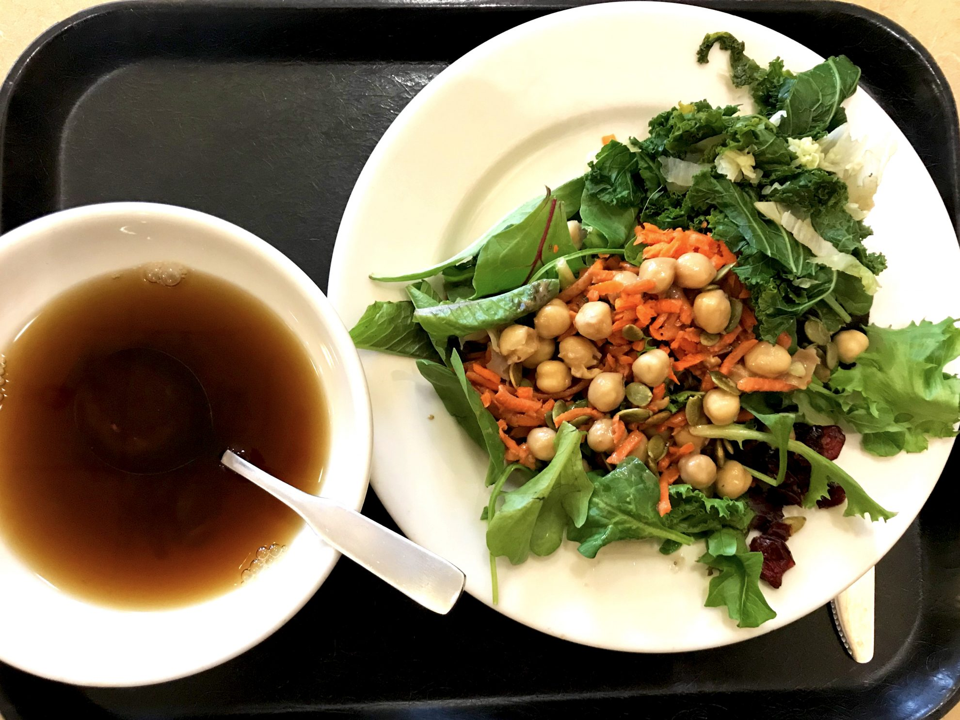 Kripalu Center reviews of the food offered at Kripalu Center for Yoga and Health- salad and soup for lunch