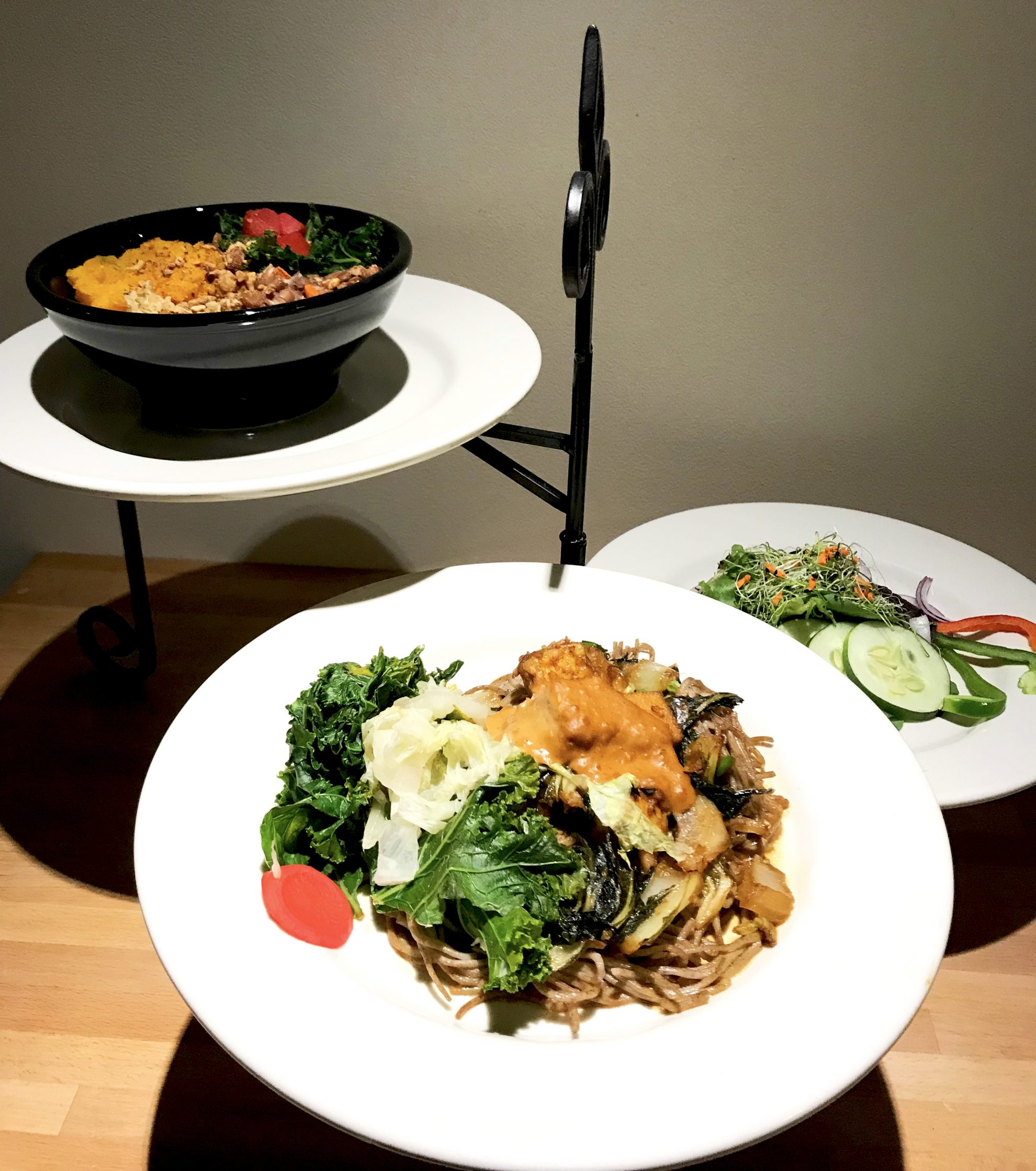 Lunch options, including salad and noodles, at Kripalu Center for Yoga and Health