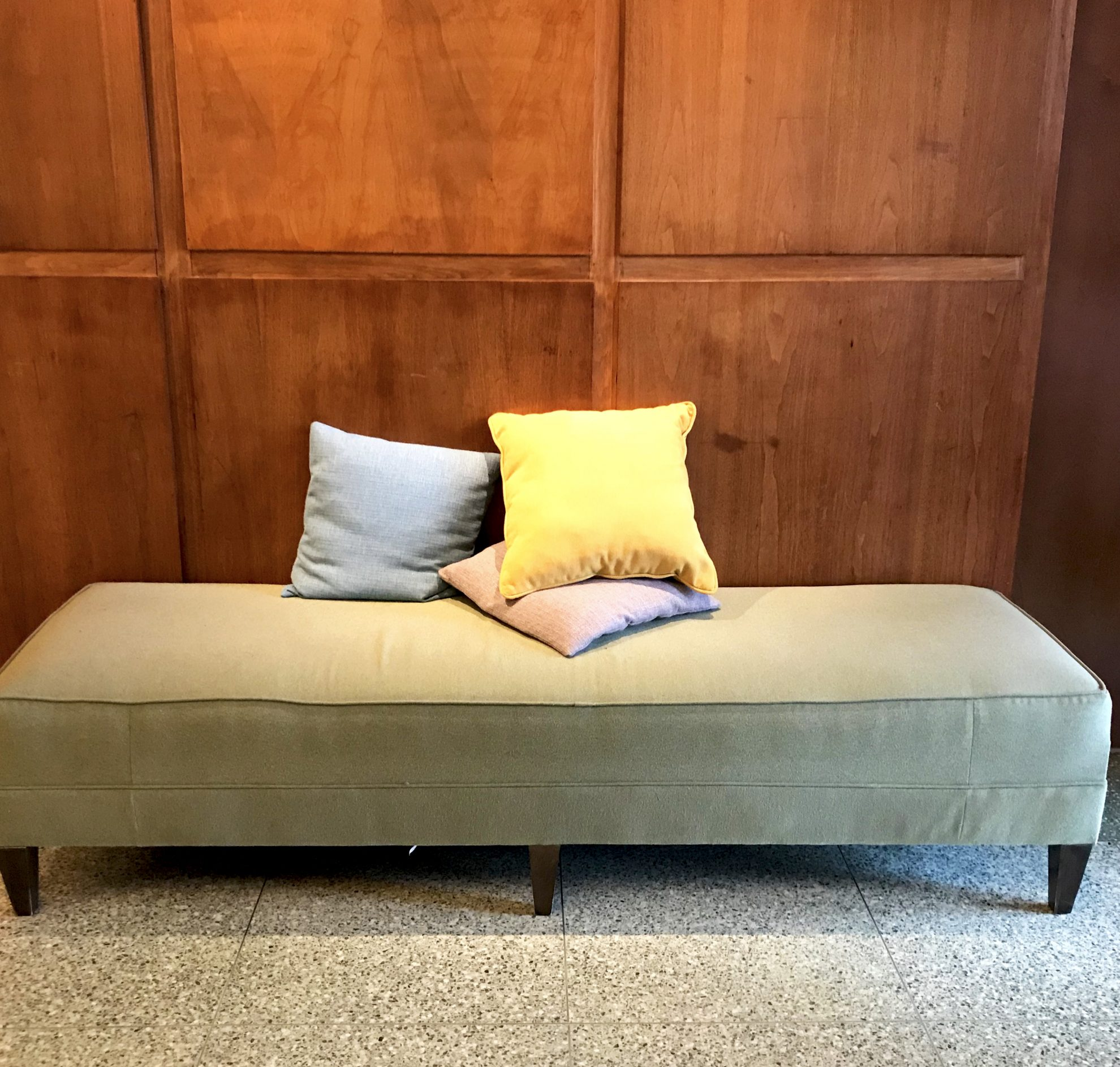 Bench and colorful throw pillows at Kripalu Center for Yoga and Health