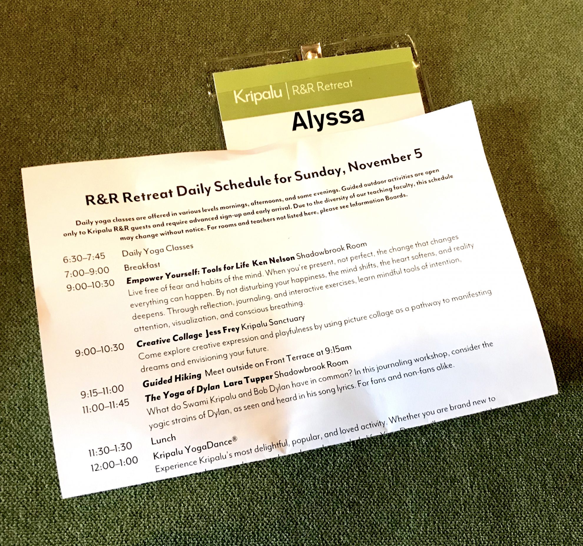 Sample schedule for Kripalu day pass at Kripalu Center for Yoga and Health