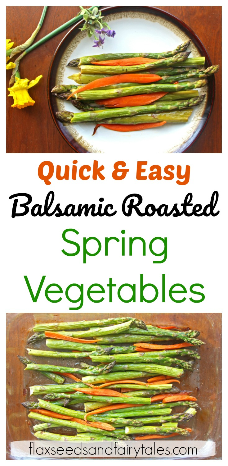 This healthy vegetable side dish recipe is so quick & easy to make! Roasted spring vegetables (asparagus & carrots) is a delicious recipe for kids, picky eaters, and clean eating! The perfect low carb roasted veggie dish for a healthy dinner.