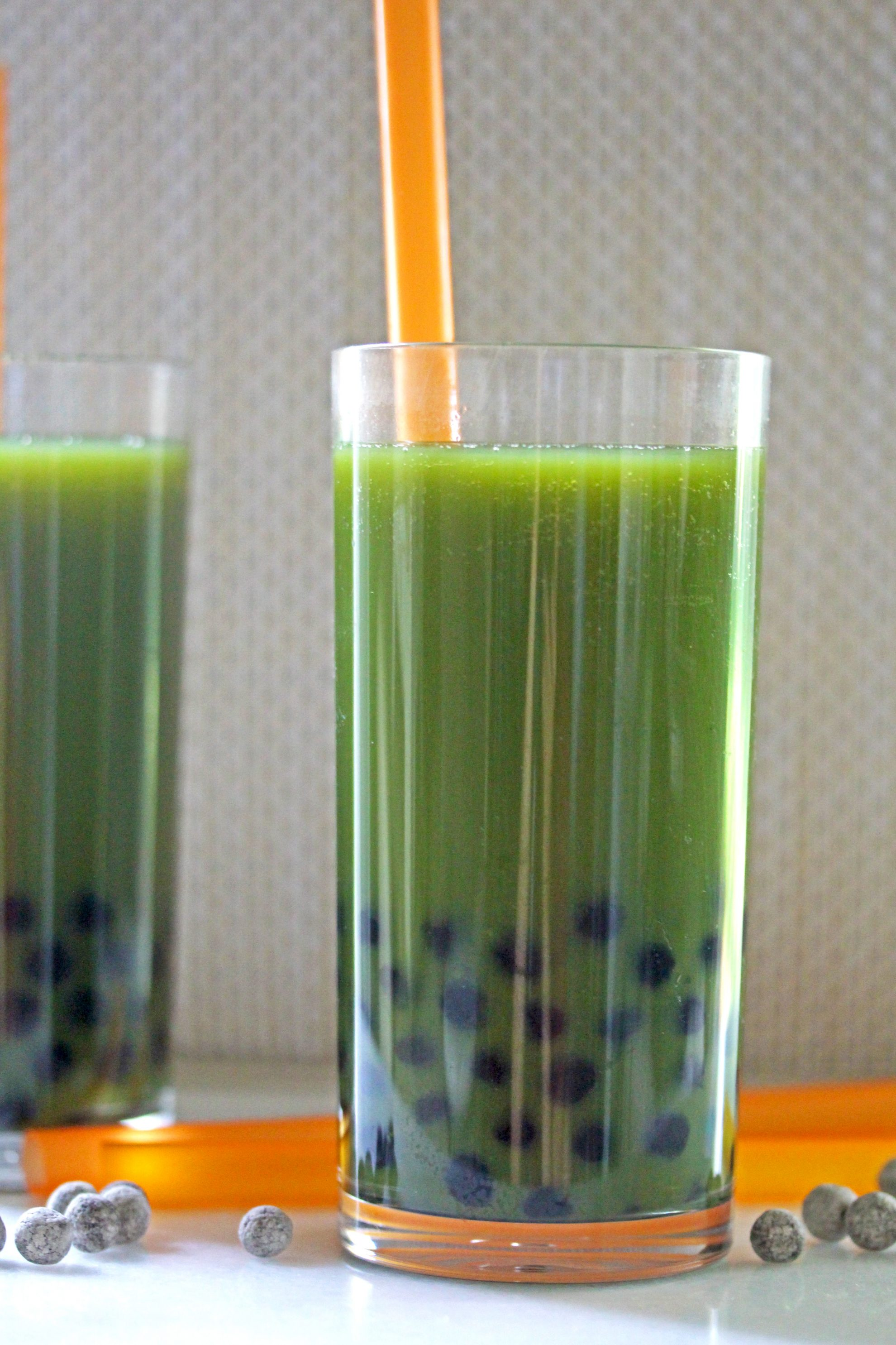 Green Juice Bubble Tea is a healthy bubble tea recipe that uses green juice and tapioca pearls