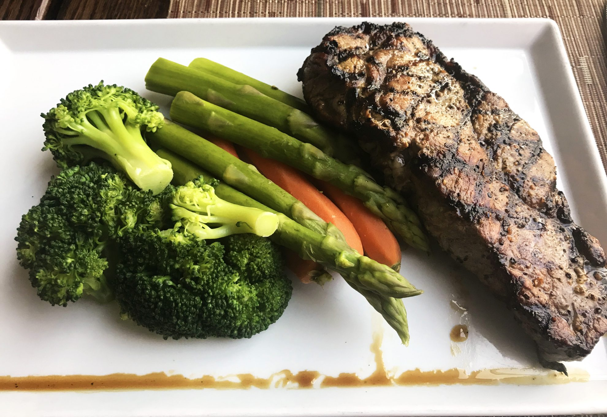 Steak and vegetables from gluten free dining in New York City