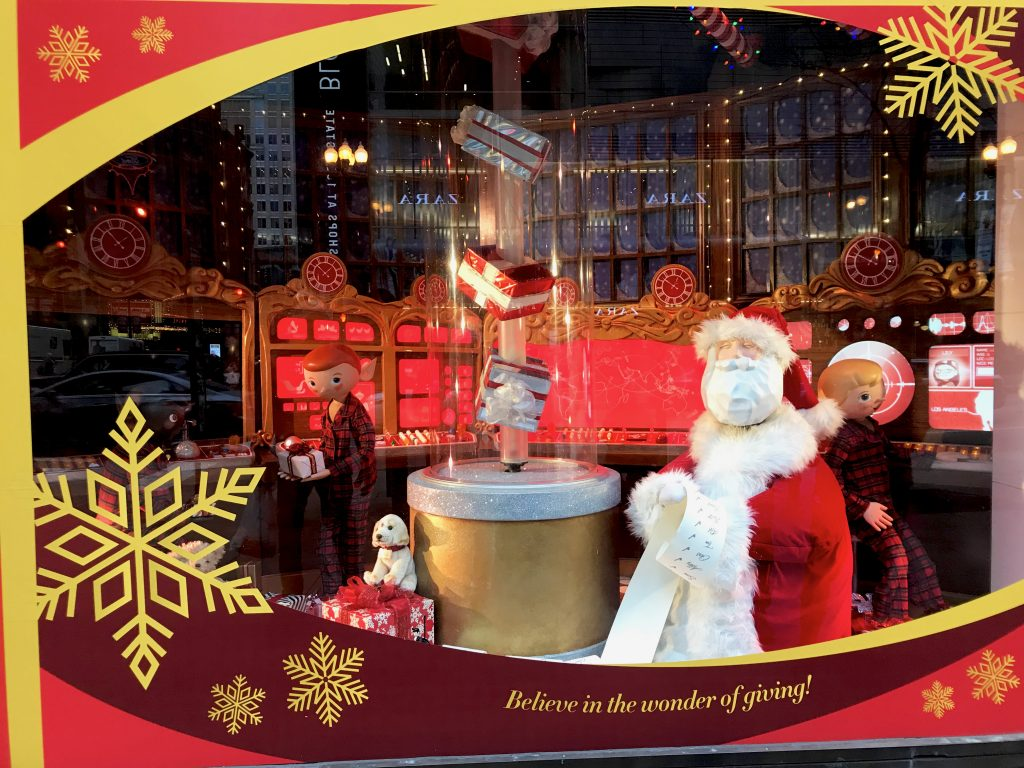 Christmas window displays at Macy's State Street in Chicago
