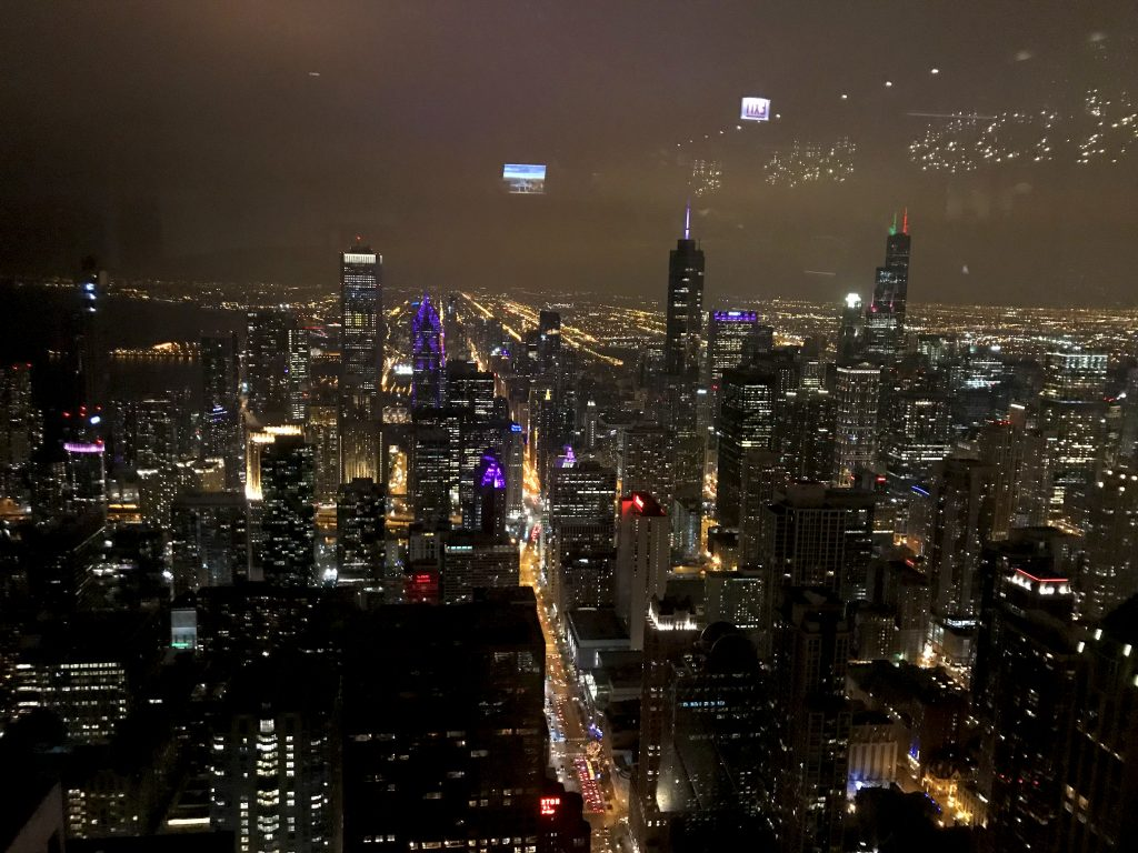 View from 360 Chicago during holidays in Chicago