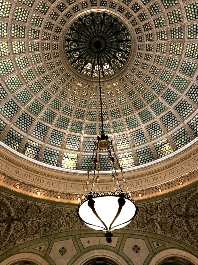 Tiffany stained glass dome at Chicago Cultural Center is a must-see when visiting Chicago in the Winter