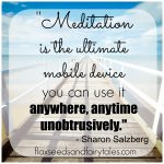 """Meditation is the ultimate mobile device; you can use it anywhere, anytime, unobtrusively."" - Sharon Salzberg; Visit Flaxseeds & Fairytales for more meditation humor and funny mindfulness quotes!"
