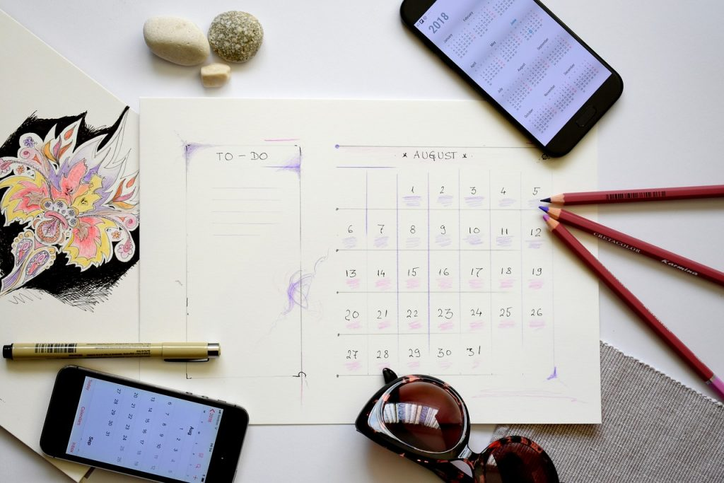 Calendar for planning ways to workout at home