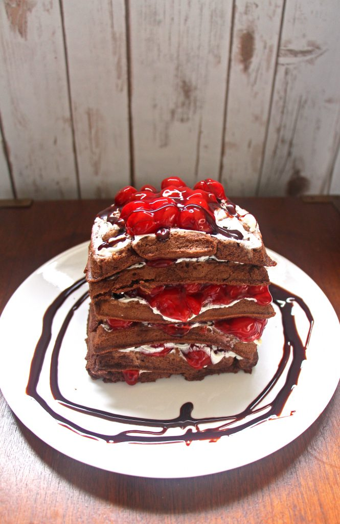 This chocolate cherry waffle cake is a great Valentine's Day Breakfast idea and comes with a gluten free waffle cake option