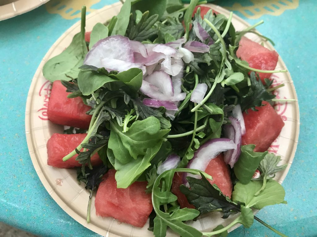 Watermelon salad from Flame Tree Barbecue is delicious gluten free quick service in Disney World 2019