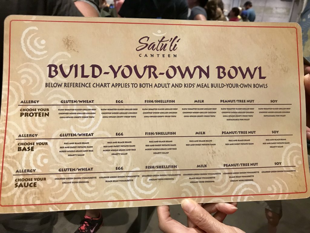 Allergy friendly menu at Satuli Canteen in Animal Kingdom. This is a great gluten free quick service option in Disney World. Healthy and delicious!