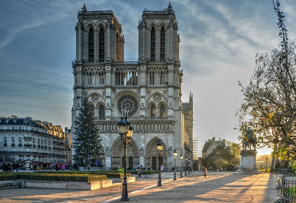 Notre Dame Cathedral Paris at dusk