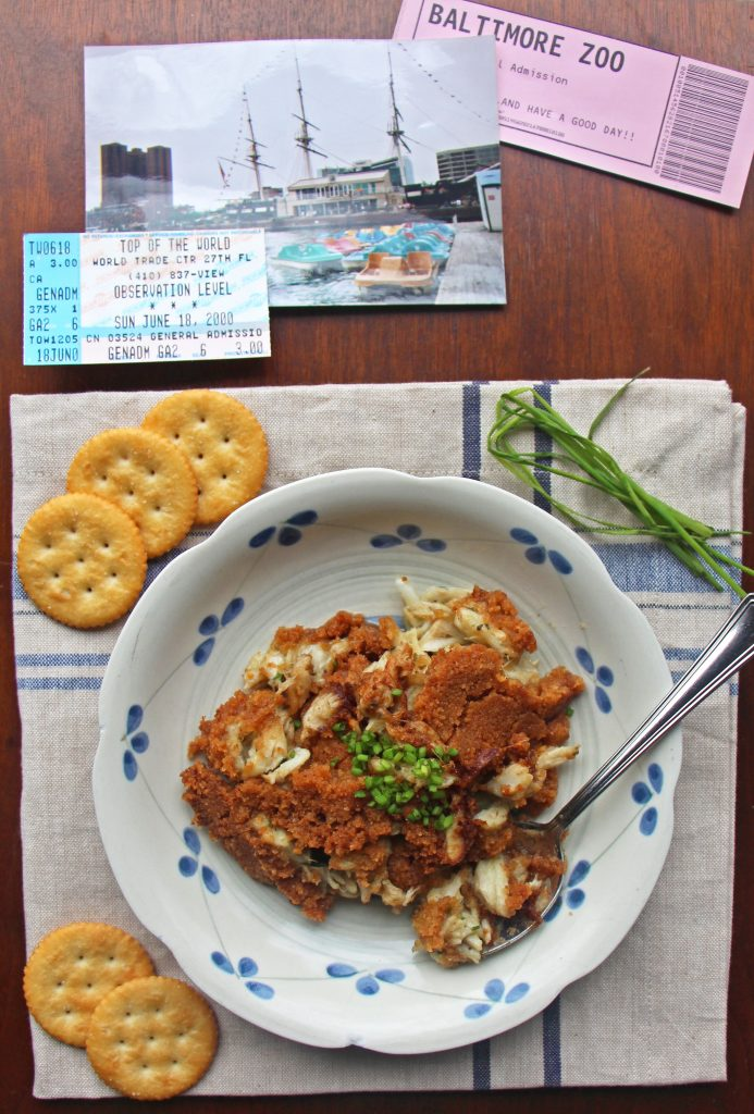 Tasty hot crab bake casserole with ritz crackers on top