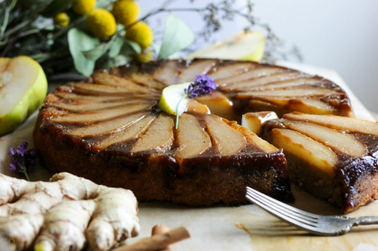 Paleo pear upside down cake with easy caramel sauce is a delicious AIP dessert recipe everyone will love