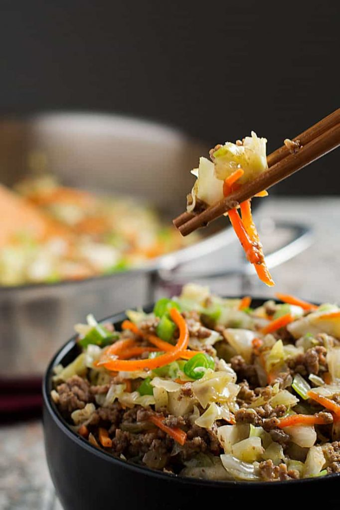 Easy paleo egg roll in a bowl is a great AIP pork recipe for lunch