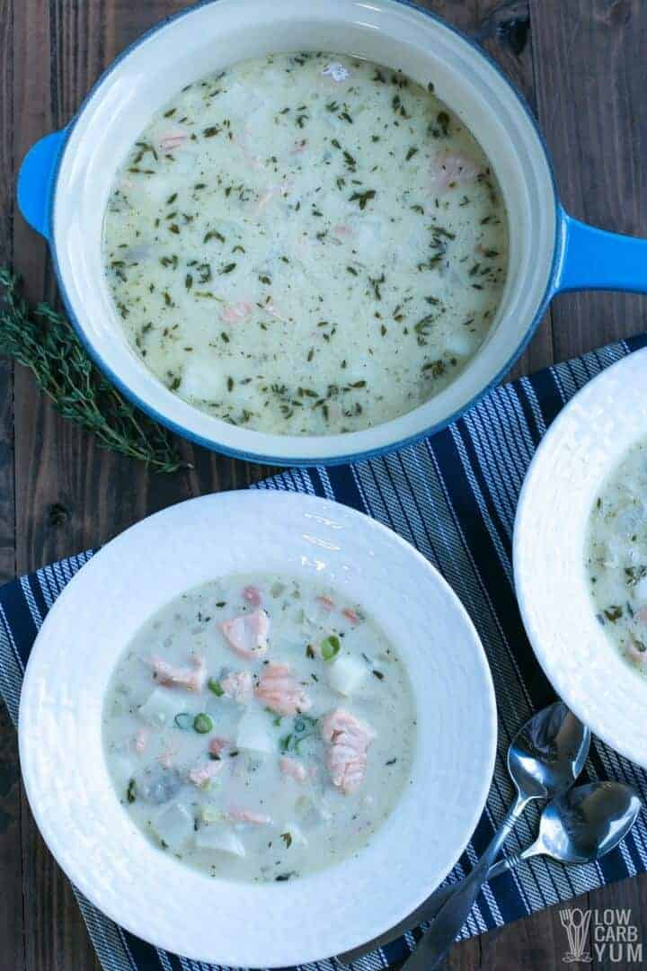 Paleo salmon chowder is an easy AIP soup recipe for lunch or dinner
