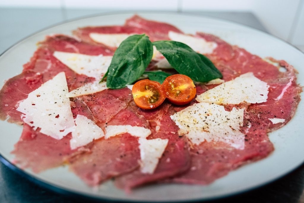 Keto Italian food eating out- carpaccio is high fat and low carb