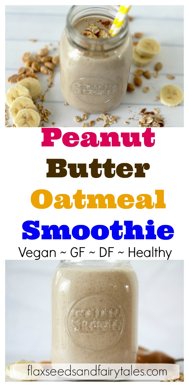 This Peanut Butter Oatmeal Smoothie is an easy healthy breakfast for those busy mornings! It has filling ingredients like peanut butter, banana, oatmeal, and almond milk to keep you full all day! Plus it's great for weight loss with 2 secret fat burning ingredients. Gluten free & vegan. #oatmealsmoothie #healthybreakfastsmoothie #peanutbuttersmoothie #easybreakfast