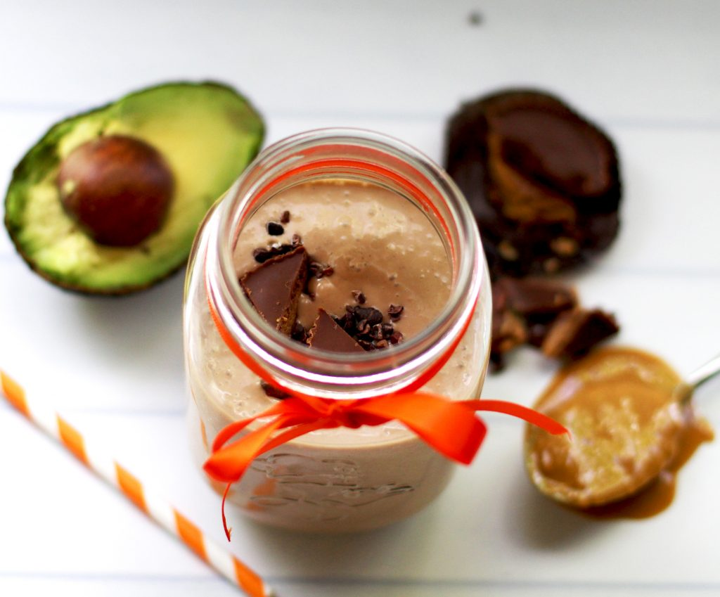 Low carb chocolate peanut butter shake with avocado and almond milk. A delicious low carb smoothie for breakfast, lunch, dinner or snack!