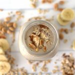 Peanut Butter Oatmeal Smoothie for Weight Loss has oats, banana, and peanut butter for a filling breakfast smoothie