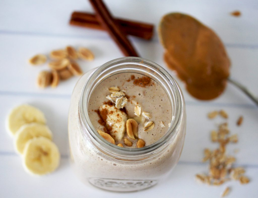 A super healthy breakfast smoothie with rolled oats, banana, and peanut butter. This is a filling and hearty Peanut Butter Oatmeal Smoothie that is great for weight loss!