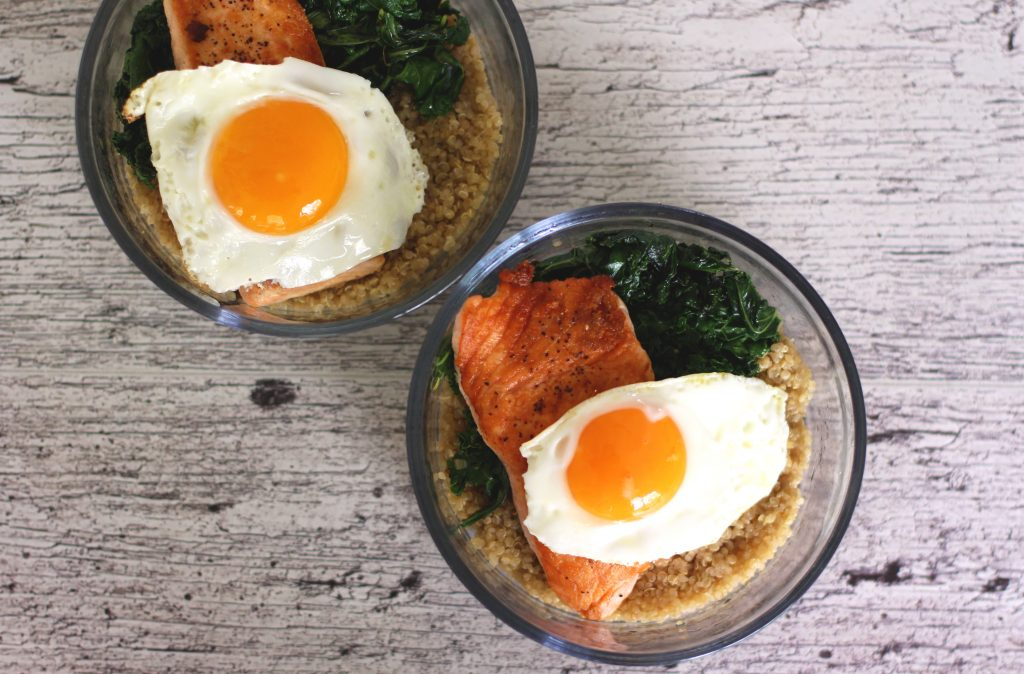 Healthy Salmon and Quinoa Breakfast Bowl with one egg is a simple and quick healthy breakfast meal prep recipe for work